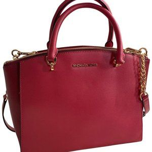 Michael Kors Ellis Large Satchel Crossbody Cherry